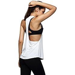 Sport tank tops HARRYSTORE Mujer camisetas deportivas sueltos y elásticos Mujer camisetas sin mangas deportivos mujer chaleco Fitness para correr (M, Blanco)