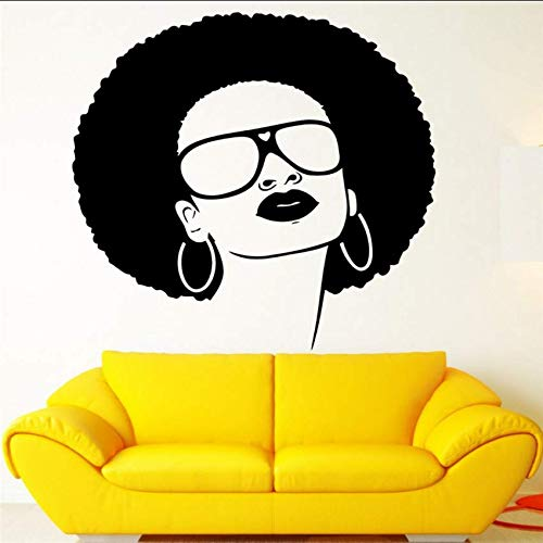 Hbbhbb Girls Vinyl Wall Applique African Black Hippie Ladies Sunglasses Earrings Mural Art Wall Stickers Beauty Salon Decoration 70X70Cm
