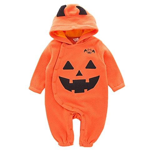 Cystyle Baby Kinder Strampler Kostüm Kürbis Pumpkin Super süß Halloween Cosplay Party Bekleidung mit Kapuze (95/12-18 (18 Kostüme Baby Halloween Monate 12)