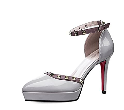 AdeeSu Womens Spikes Stilettos Platform Buckle Gray Patent-Leather Pumps Shoes - 3 UK