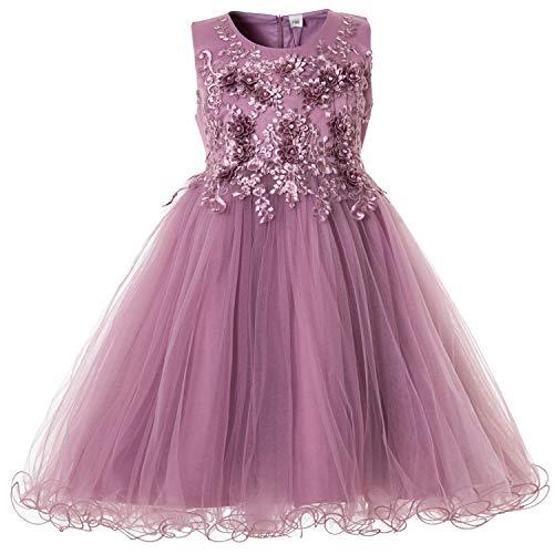 CIELARKO Mädchen Kleid Prinzessin àrmellos Blumen Hochzeits Festzug Kleid Blumenmädchen Kleider, Violett, 4-5 Jahre -