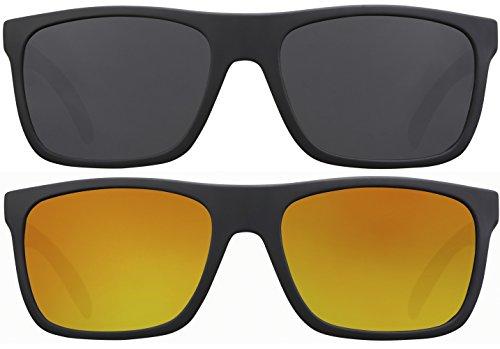Sonnenbrille UV 400 La Optica Herren Männer Leicht Sport Joggen - Doppelpack Set Gummiert Schwarz (Gläser: 1 x Grau, 1 x Rot verspiegelt)