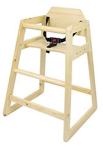 Chaise Haute en bois pin naturel Chaise bébé Escalier solide et stable