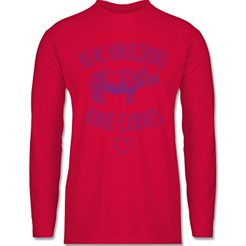 Statement Shirts - Real unicorns have curves - Longsleeve / langärmeliges T-Shirt für Herren Rot