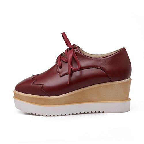 VogueZone009 Damen Weiches MaterialQuadratisch Zehe Mittler Absatz Rein Pumps Schuhe Rot