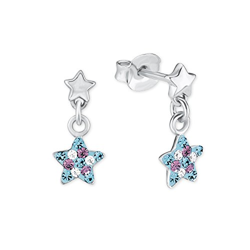 Prinzessin Lillifee Kinder-Ohrhänger Stern 925 Silber rhodiniert Kristall mehrfarbig - 2013176