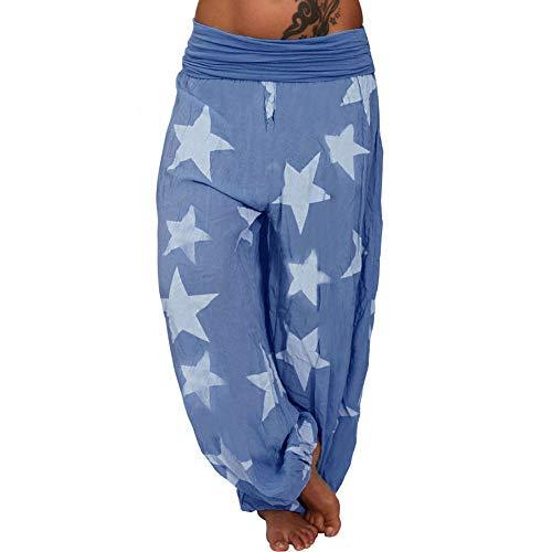 en Sterne Stars Muster Print Bedrucktes Gefaltet Plissee Mid Waist Pumphose Loose Aladdin Indian Hippie Yoga Long Baggy Hose Freizeithose Stoffhose Übergröße (XL,Blau) ()