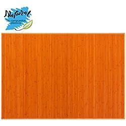 Alfombra de Bambú Natural, de Color Naranja, con Base Antideslizante, Ideal para Salón/Dormitorio, de 140cm X 200cm -Hogar y Más