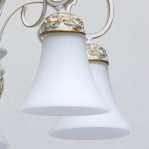 Kronleuchter weiß und gold Metall klassisch antik mattweiße Glasschirme - 5