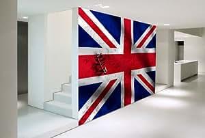 Papier peint drapeau anglais auto adh sif - Decoration anglaise pour chambre ...
