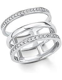 s.Oliver Damen-Ring 14 mm 925 Silber rhodiniert Zirkonia weiß