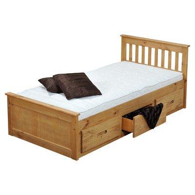 Amani Pine Mission Single Slat Bed With Storage - 3 Drawers - cheap UK light shop.