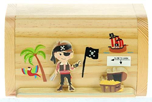 Namesakes Pirat und Schatz : Sparschwein Spardose Kinder : Geschenk für Jungen oder Mädchen : Mini Schatztruhe mit Schloss (Jungen Sparschwein Kleine)