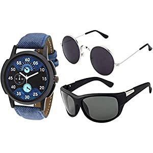 Y&S Combo Pack of UV Protected Men's and Women's Sunglasses with Watch (55 mm, Black Lens)