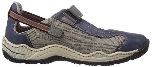 Rieker L0552, Baskets Basses femme Bleu (Denim/grau/shark / 14)