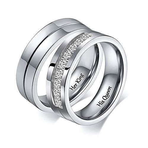 Amody 1 Paar Paar Eheringe aus Edelstahl für Sie und Ihn Versprechen Verlobungsbänder graviert Her King und His Queen Frauen Größe 57 (18.1) Männer Größe 60 (19.1)