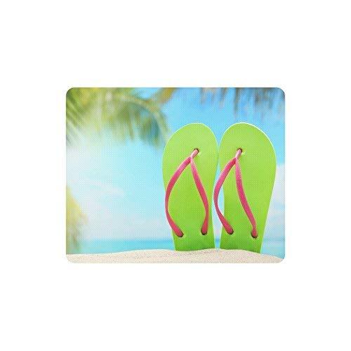 Luancrop Estate Infradito su Sabbia Spiaggia rettangolo Antiscivolo in Gomma Laptop tappetini per Mouse Mousepad/tappetini Mouse Custodia con Disegni