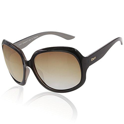 DUCO Damen Modisch Polarisierte Sonnenbrille Vintage Übergroße Sonnenbrillen 3113 (Braun)
