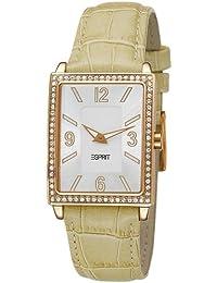 Esprit Damen-Armbanduhr Clarity Champagne Analog Quarz Leder