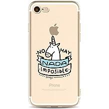 Phone Kandy® Claro transparente lindo lindo unicornio TPU ultra fino suave caso de silicona y protector de pantalla carcasa funda (iPhone 6 6s, No hay Nada)