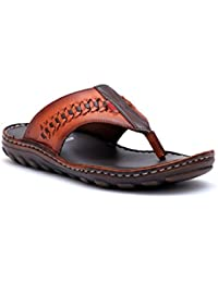 Hitz Men's Brown Genuine Leather Casual Sandal