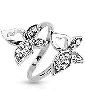 Bungsa® Mittelring Schmetterling mit Stein silber Zehenring für Damen (Zehring Fussschmuck Fussring Toe-Ring Nail...