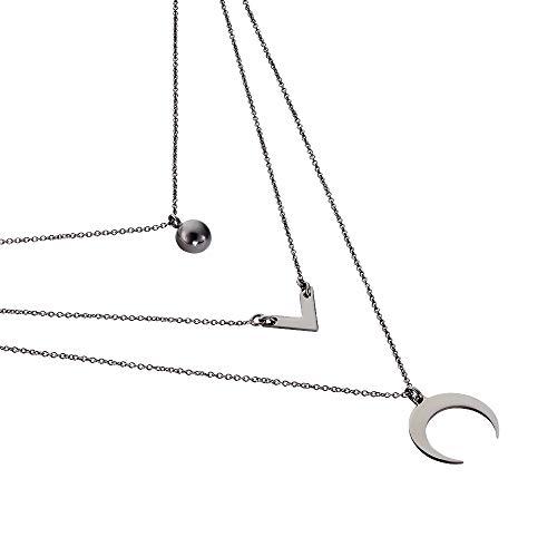 Rendez-vous RueParadis Paris - Halskette - Halbmond, V Form und Halbe Perle - Massives/Sterling Schwarzes Rhodiniertes Silber 925 - Damenschmuck (Diamant-halbmond Halskette)