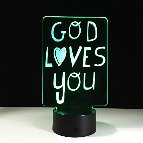 BDQZ Thanksgiving You 3d Desk Lamp Acrylic Stereo 3d Table Lamps Control Touch Colorful Luminaria De Mesa Nightlight