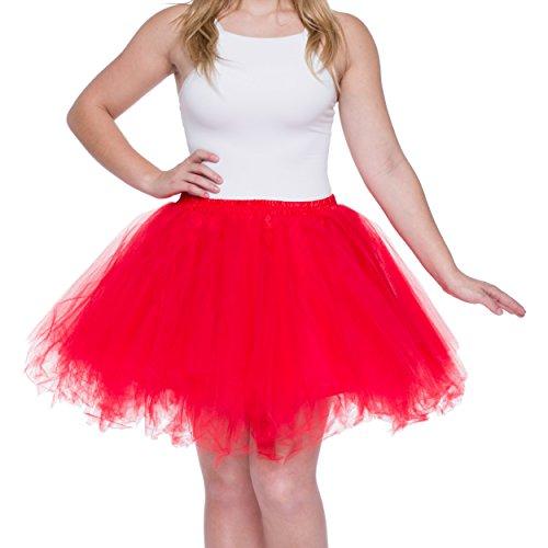 Dancina Damen Petticoat 50er Jahre Retro Tutu Tüllrock Normale und Große Größen, Rot, Gr. 42-46