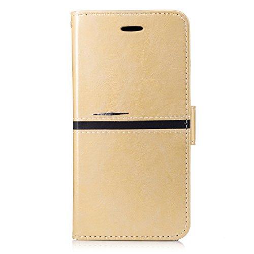 IPhone 6 Plus Housse, Premium PU Leather Horizontal Flip Stand Case Avec Holder & Wallet & Card Slot & Photo Frame Pour Apple IPhone 6 Plus 5.5 Pouces ( Color : Rose Gold , Size : IPhone 6 Plus 5.5 ) Gold