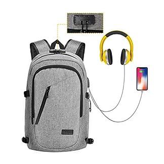 COPARK Mochila para Portatil 15.6 Pulgadas Impermeable Antirrobo, Trabajo Viaje Multiusos Daypacks con Puerto de Carga USB Hombre Mujer Estudiante
