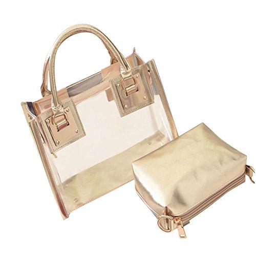 Damen Taschen, KIMODO Mode FüR Frauen Transparente UmhäNgetasche Mit SüßIgkeiten Strand Handtasche Messeng Tasche (Gold) -