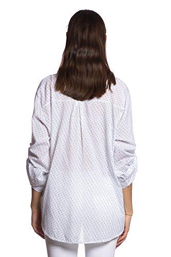Abbino IG012 Blusen Femmes Filles - Fabriqué en Italie - Plusieurs Couleurs - Transition Printmps Été Décontractée Dynamique Plaine Elegante Confortable Vintage Casual Sexy Promotion Vente Blanc (Art. 83931-2)