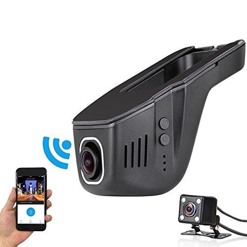 Unaufällige WiFi Full HD DashCam KFZ DVR Auto Kamera mit Rückfahrkamera 170° Super Weitwinkel kostenlose App G-Sensor Bewegungserkennung