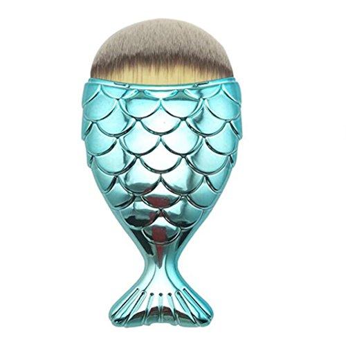 NINGSANJIN Brosse de maquillage à l'échelle de poisson, pinceau à queue de poisson (Bleu)