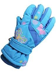 GWELL Gants de Ski/Snowboard Sports Patinage Thermique Imperméable Antidéparant Enfants Filles 8-10 ans