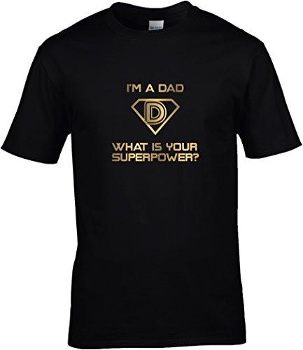 Kostüm Dad Super - BlingelingShirts Fun Shirt Sprüche Karneval I'm a Dad What is Your Superpower? Super Papa Kostüm Shirt Fasching Druck Gold, T-Shirt, Grösse XXL, Schwarz