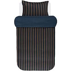 Marc O'Polo Bettwäsche Classic Stripe Blau Braun Streifen Baumwollsatin 155 cm x 220 cm