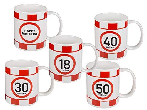 MC Trend Geburtstags-Becher-Tasse Happy Birthday Party Feier Getränke Tisch-Deko-Idee Präsent (50 and Sexy)