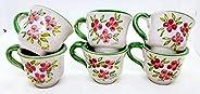 6 Tazzine da caffè Linea Fiori Rosa Bordo Verde Ceramica Handmade Le Ceramiche del Castello Made in Italy Dime