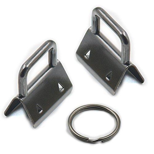 Fujiyuan 15 pcs 25 mm 2,5 cm Porte-clés matériel poignet Porte-clés Wristlet Définit avec Split Bagues Porte-clés pour Wristlets avec ruban de tissu en toile en relief Pistolet Noir