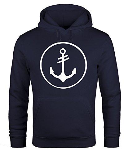 Neverless Cooler Kapuzen-Pullover Herren Anker Round Hoodie Männer Navy L
