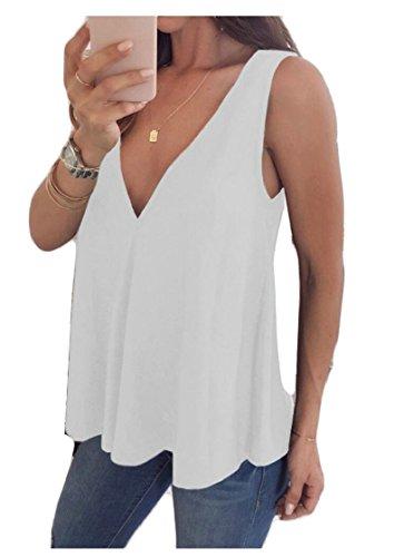 Gocgt Women's Loose Sleeveless V Neck Pleated Flowy Tank Top Shirts