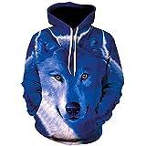 Felpe con Cappuccio da Uomo 3D Wolf Hoodies Pullover Fashion Casual Hoodie Animal