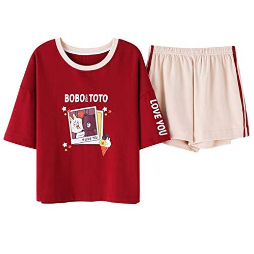 Damen Schlafanzug Set, Sommer Baumwolle Nachtwäsche Loungewear, Top und Kurz Hosen 2-Teiler Pyjama,5,L