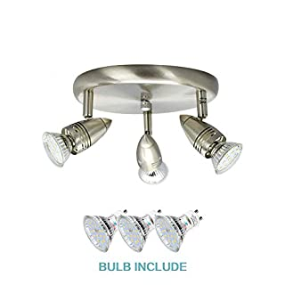 3 Way Round Plate Led Ceiling Spot Lights for Kitchen, Living Room , Bedroom (Polished Chrome) Rotatable Led Ceiling Spotlights Bar . Including 3 x 4W GU10 Led Bulbs. Warm White Led Ceiling Lamp.
