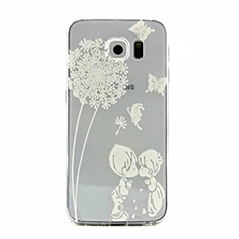 MUTOUREN Samsung Galaxy S6 case cover Soft TPU Case ultra-thin feel good, 3D transparent mobile phone shell Protective Front and Back Full Body Shock-Absorption anti-scratch case-simple white pattern boy and girl kiss Feather Butterflies