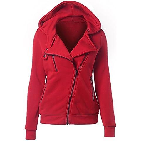 Pacyer® Donna Felpa con Cappuccio con zip Maniche Lunghe giacca Pullover Jumper Sweatshirt Cappotto