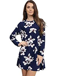 e-clothing Womens Ladies Long Sleeve Printed Skater Swing Dress
