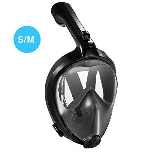 Tauchmaske, OMorc Seaview 180 Grad Blickfeld GoPro Kamera Halterung Kompatible Schnorchelmaske für Erwachsene und Kinder- Panoramavolles Gesichtsdesign mit Anti-Fog und Anti-Leck-Technologie, S/M